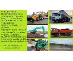 Ekskavatoriaus nuoma 860625738 Vilnius Racioko nuoma, traktoriaus nuoma