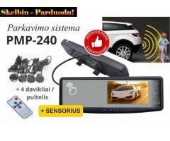 """PMC-240 PARKAVIMO SISTEMA VEIDRODYJE 4.3"""" INTEGRUOTU EKRANU IR SENSORIKA"""