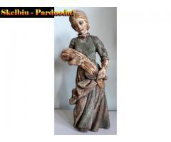 """Sena medinė skulptūra-""""linų pjovėja"""""""