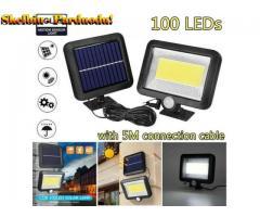 100 LED lauko, sodo apsaugos apšvietimo prožektorius maitinamas saulės baterijomis su judesio davikl
