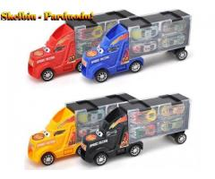 Vaikams berniukams imituojamas automobilis su konteineriais su 4 traukiamų metalinių automobilių žai